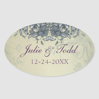Sage Green Vintage Lace Wedding Save The Date Oval Sticker