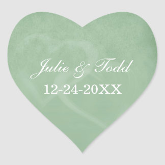 Sage Green Vintage Save The Date Heart Sticker