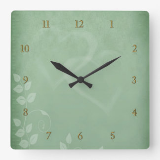 Sage Green Vintage Square Wall Clock