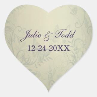 Sage Green Vintage Wedding Save The Date Heart Sticker