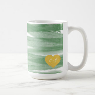 Sage Green Watercolor Couple's Coffee Mug