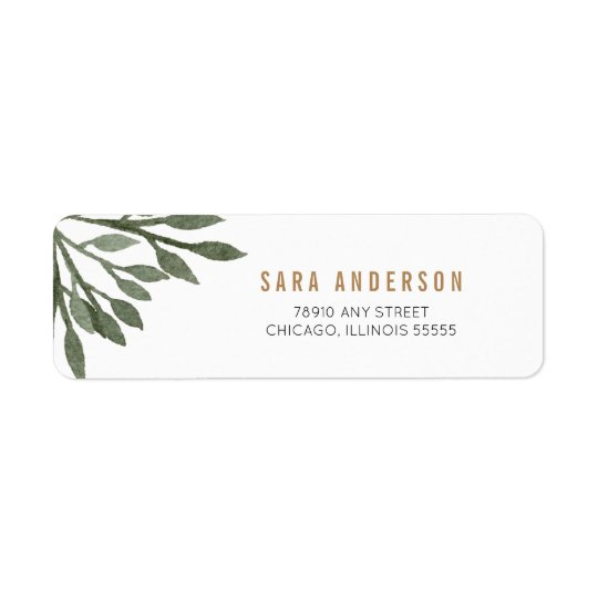 Sage Green Watercolor Leaves Return Address Label