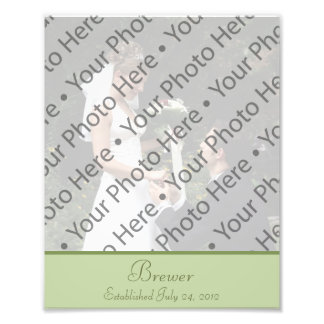 Sage Green Wedding Photo Prints with Custom Text