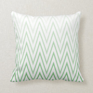 Sage Green White Gradient Ombre Chevron Pattern Cushion