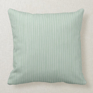 Sage Green & White Hand Made Stripes Throw Pillow