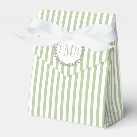 Sage green, white stripes monogram wedding favour box