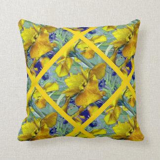 Sage Green Yellow Iris Garden Pattern Cushion