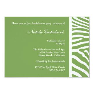 Sage Green Zebra Bachelorette Party Invitation