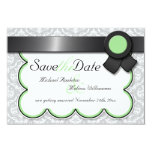 Sage & Grey Damask Save the Date Announcements