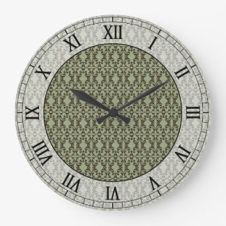 sage olive green and brown damask roman numerals round wall clock