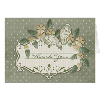 Sage Polka Dotted Thank You Greeting Card