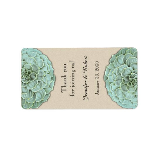 Sage Succulent Wedding Lip Balm Label