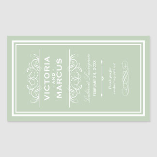 Sage Wedding Wine Bottle Monogram Favor Labels