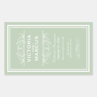 Sage Wedding Wine Bottle Monogram Favor Labels