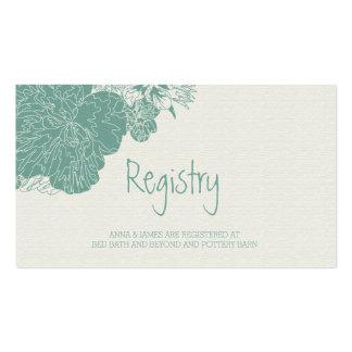Sage & White Sketched Floral Wedding Registry Card Pack Of Standard Business Cards