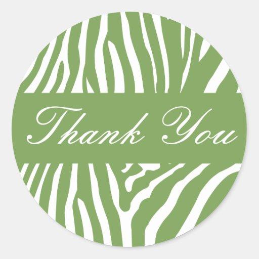 Sage Zebra Thank You Envelope Sticker Seal