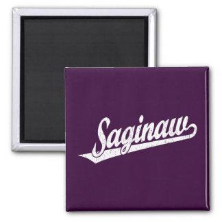 Saginaw script logo in white distressed square magnet