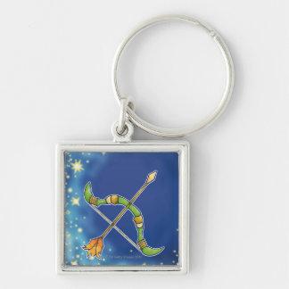 Sagittarius 2 Silver-Colored square key ring
