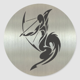 Sagittarius Archer Silhouette with Metallic Effect Classic Round Sticker