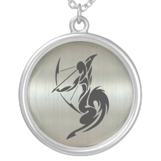 Sagittarius Archer Silhouette with Metallic Effect Silver Plated Necklace