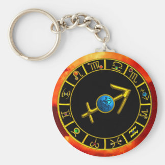 SAGITTARIUS BASIC ROUND BUTTON KEY RING