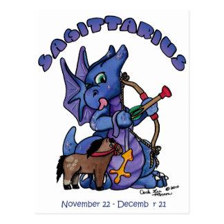 sagittarius cute zodiac baby dragon postcard
