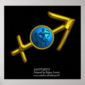 SAGITTARIUS / GOLD ZODIAC BIRTHDAY SIGN IN BLACK POSTER