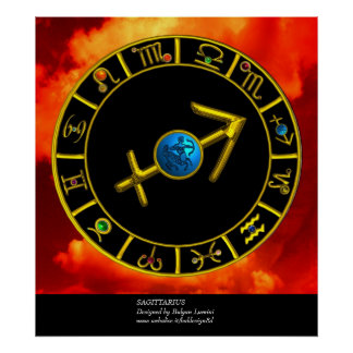 SAGITTARIUS / GOLD ZODIAC SIGNS CIRCLE, Astrology Poster