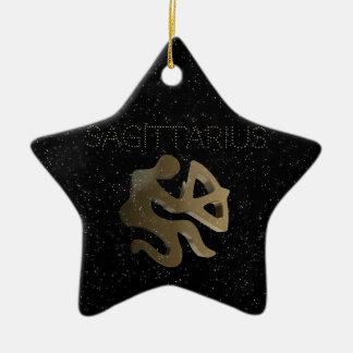 Sagittarius golden sign christmas ornament