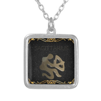 Sagittarius golden sign silver plated necklace