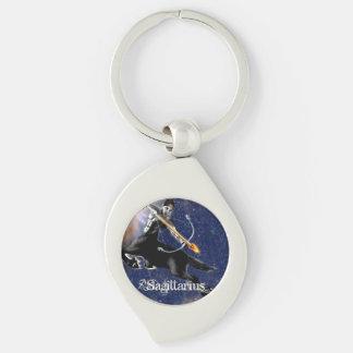 Sagittarius Keychain Silver-Colored Swirl Key Ring