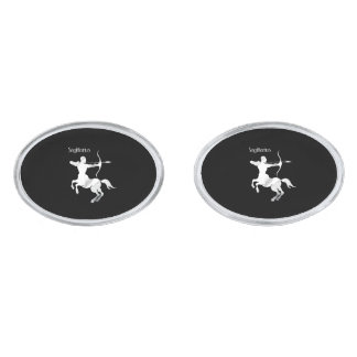 Sagittarius Silver Archer Zodiac Silver Finish Cuff Links