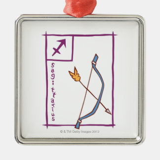 Sagittarius Silver-Colored Square Decoration