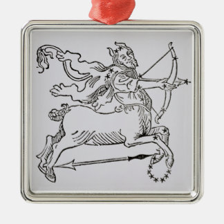 Sagittarius (the Centaur) an illustration from the Silver-Colored Square Decoration