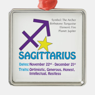 Sagittarius Traits Square Ornament