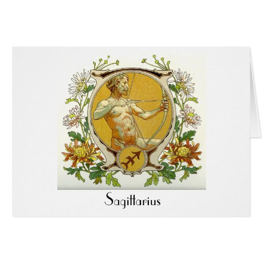 Sagittarius Zodiac Antique Art Greeting Card