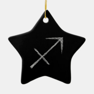 Sagittarius. Zodiac Astrology Sign. Black. Christmas Ornament