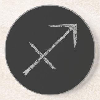Sagittarius. Zodiac Astrology Sign. Black. Drink Coasters