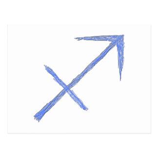 Sagittarius. Zodiac Astrology Sign. Blue. Postcard