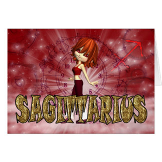 Sagittarius Zodiac Birthday card with cutie pie Ga