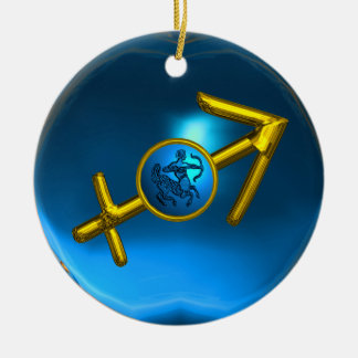 SAGITTARIUS ZODIAC BIRTHDAY JEWEL Blue Turquase Double-Sided Ceramic Round Christmas Ornament
