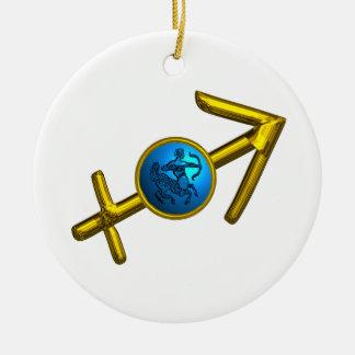 SAGITTARIUS ZODIAC BIRTHDAY JEWEL Blue Turquase Round Ceramic Decoration