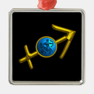 SAGITTARIUS ZODIAC BIRTHDAY JEWEL Blue Turquase Square Metal Christmas Ornament