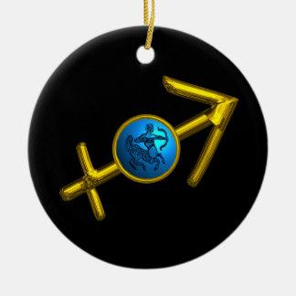 SAGITTARIUS ZODIAC BIRTHDAY JEWEL Blue Turquoise Christmas Ornament
