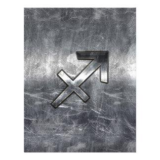 Sagittarius Zodiac In Grunge Distressed Steel look 21.5 Cm X 28 Cm Flyer