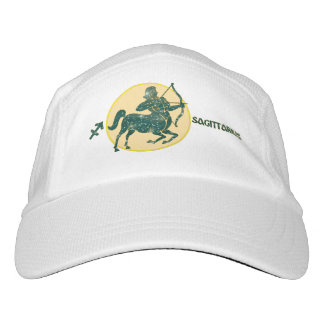 Sagittarius Zodiac Knit Performance Hat, White Cap