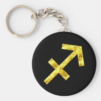 Sagittarius Zodiac Sign Black Gold Symbol Key Ring