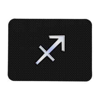 Sagittarius Zodiac Sign on black snake skin Rectangular Photo Magnet