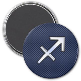 Sagittarius Zodiac Sign on Blue Carbon Fiber Print 7.5 Cm Round Magnet