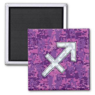 Sagittarius Zodiac Sign on Fuchsia Digital Camo Square Magnet
